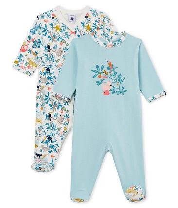 Duo van pyjama's van ribstof voor babymeisjes