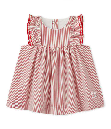Gestreept jurkje uit popeline voor babymeisjes