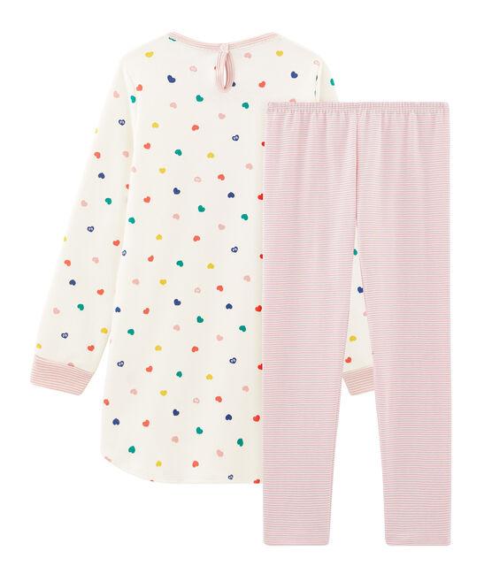 Meisjesnachthemd met lange mouwen van dubbelzijdig jersey met hartjes wit Marshmallow / wit Multico
