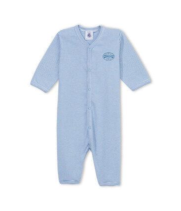 Pyjama zonder voetjes en met milleraies-strepen voor babyjongens blauw Alaska / wit Ecume