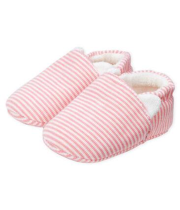 Babyschoentjes babymeisje van gebreide stof roze Charme / wit Marshmallow