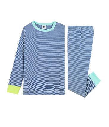 Jongenspyjama van ribstof blauw Pablito / wit Marshmallow