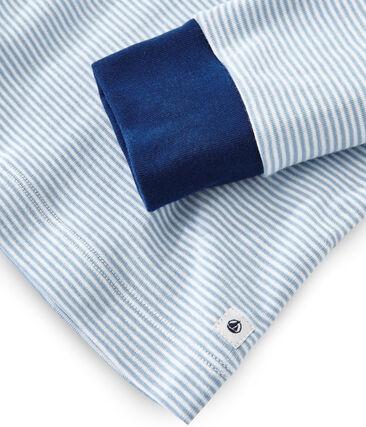 Jongenspyjama van gebreide stof blauw Acier / wit Marshmallow