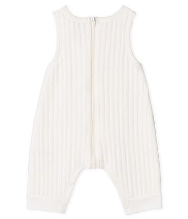 Lange salopette babyjongen van gewatteerde tubic wit Marshmallow