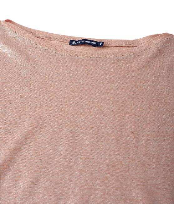 T-shirt femme manches longues en lin laqué rose Rose / gris Argent