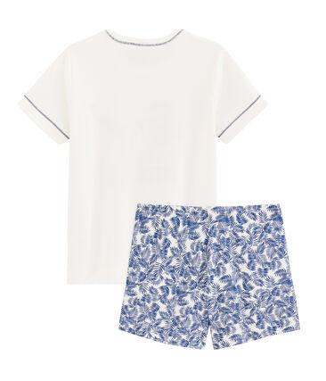 Korte pyjama van gebreide stof voor jongentjes wit Marshmallow / wit Multico