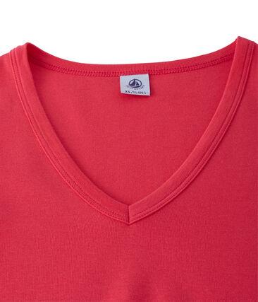 Dames-T-shirt met V-hals in origineel geribd katoen