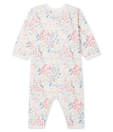 Dors bien sans pieds bébé fille en tubique blanc Marshmallow / blanc Multico