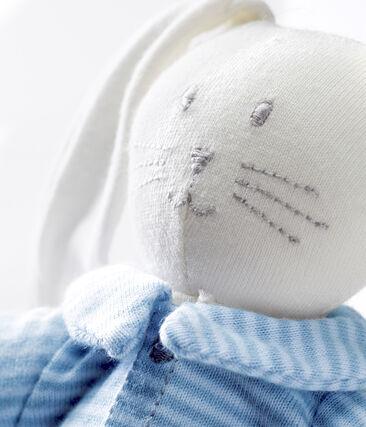 Doudou lapin habillé bleu Fraicheur / blanc Marshmallow