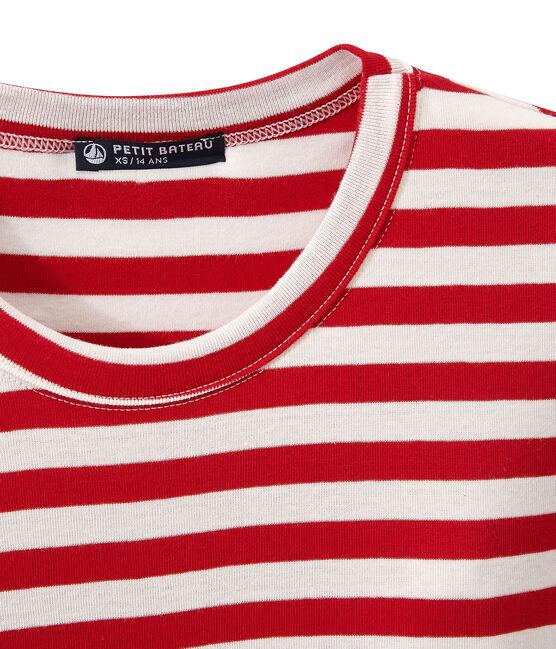 Gestreept dames-T-shirt in origineel geribd katoen rood Terkuit / wit Marshmallow