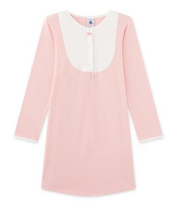Meisjesnachthemd met milleraies-strepen roze Gretel / wit Lait