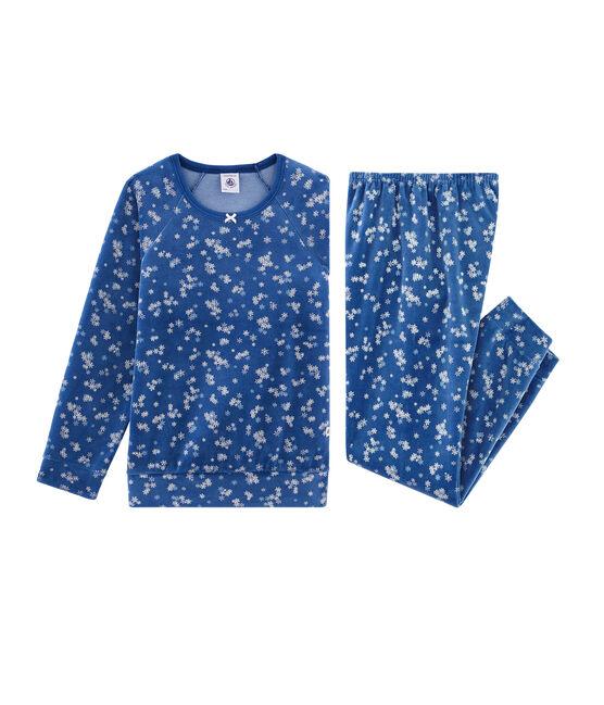 Meisjespyjama van fluweel blauw Major / wit Multico