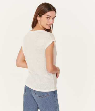 Tee-shirt manches courtes uni femme en lin irisé blanc Marshmallow / rose Copper