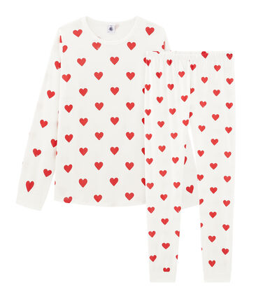 Pyjama fille en côte blanc Marshmallow / rouge Terkuit