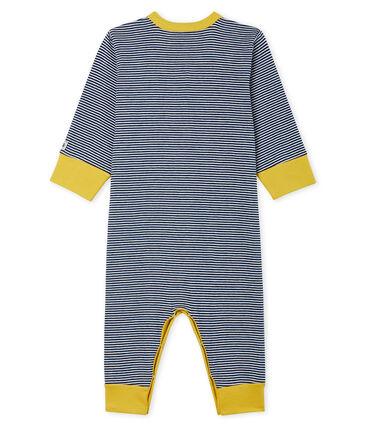 Slaappakje zonder voetjes van ribstof babyjongen blauw Medieval / wit Marshmallow