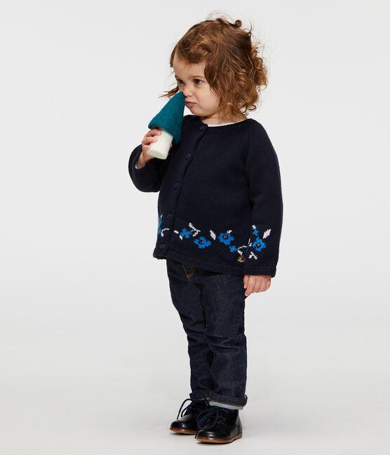 Cardigan babymeisje van tricot wol en katoen blauw Smoking / wit Multico