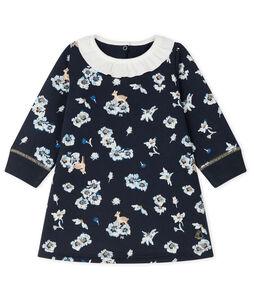 Jurk met lange mouwen en print babymeisje blauw Smoking / wit Multico