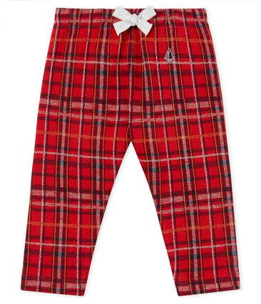 Pantalon bébé garçon en maille à carreaux rouge Terkuit / blanc Multico