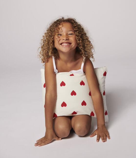 Coussin cœur rouge en popeline blanc Marshmallow / rouge Terkuit