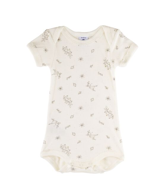 Rompertje met korte mouwen babymeisje wit Marshmallow / wit Multico