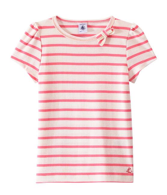 Marinegestreept meisjes-T-shirt wit Marshmallow / roze Petal