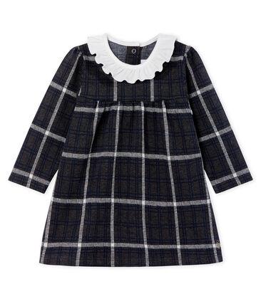 Robe manches longues bébé fille à carreaux noir City / blanc Multico