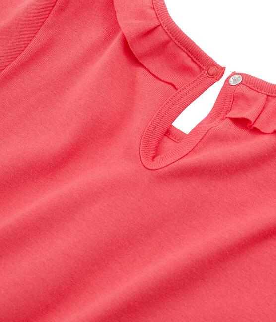 Tee shirt manches longues enfant fille rouge Signal