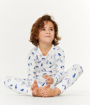 Pyjama mixte en bouclette éponge grattée extra chaude blanc Marshmallow / bleu Major