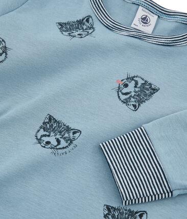 Jongenspyjama van gebreide stof blauw Acier / wit Multico