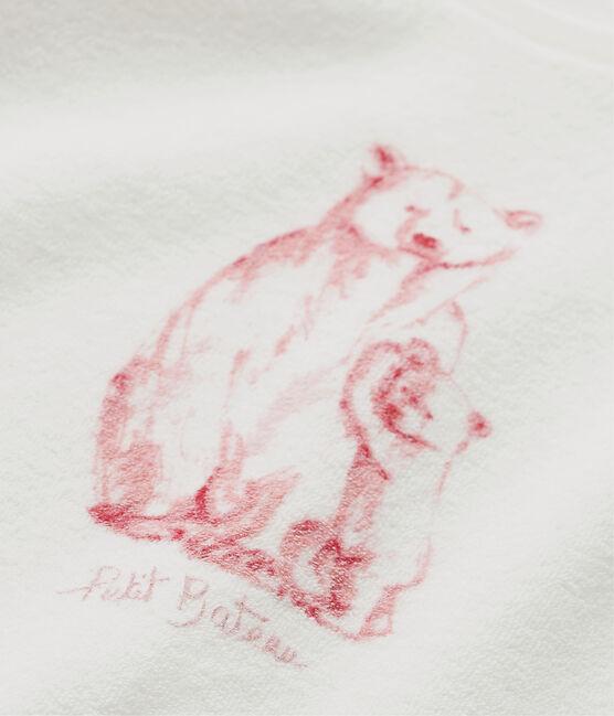 Pyjama fille en bouclette éponge blanc Lait / rose Vienne