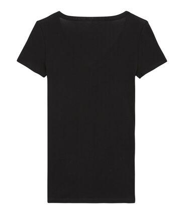 Tee shirt manches courtes col v femme noir Noir