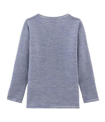 T-shirt met lange mouwen kinderen van wol en katoen blauw Medieval / wit Marshmallow
