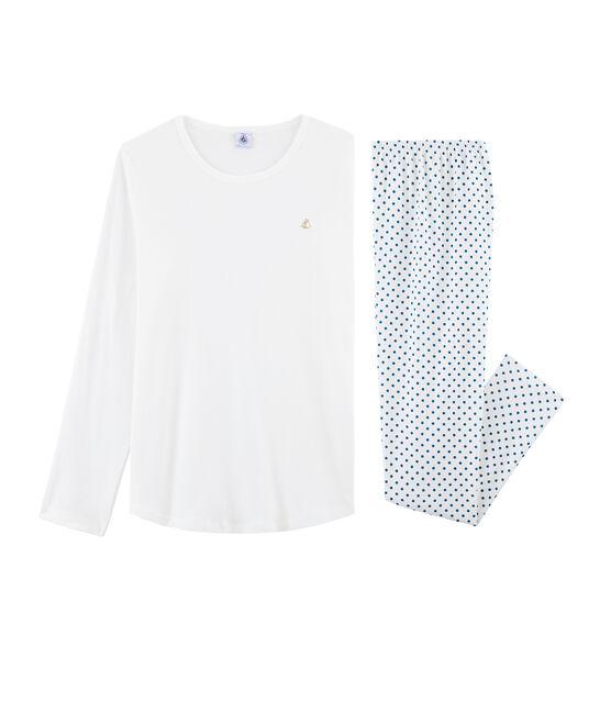 Pyjama fille en côte blanc Marshmallow / bleu Contes