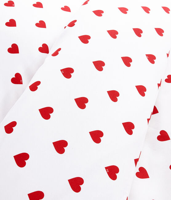 Rood hartjes popeline bedset wit Marshmallow / rood Terkuit