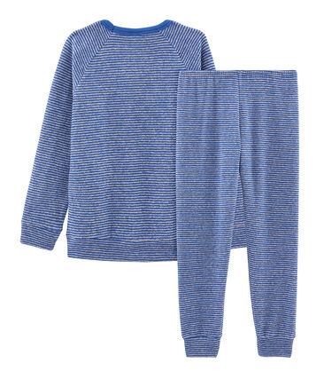 Jongenspyjama van extra warme geruwde bouclébadstof blauw Major / grijs Subway
