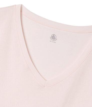 T-shirt met korte mouwen en V-hals vrouwen roze Fleur