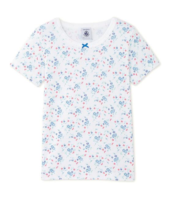 Meisjes-T-shirt met print wit Ecume / blauw Bleu