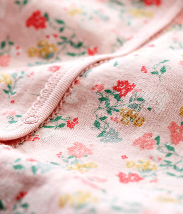 Zachte pyjama zonder voetjes voor babymeisjes roze Joli / wit Multico