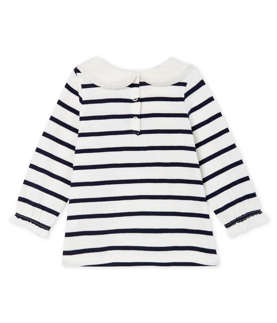 Blouse met lange mouwen en marinestreep babymeisje wit Marshmallow / blauw Smoking