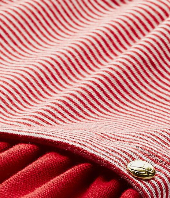 Jurk met milleraies-strepen voor babymeisjes rood Terkuit / wit Marshmallow