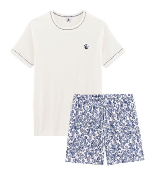 Pyjacourt garçon en côte blanc Marshmallow / bleu Medieval