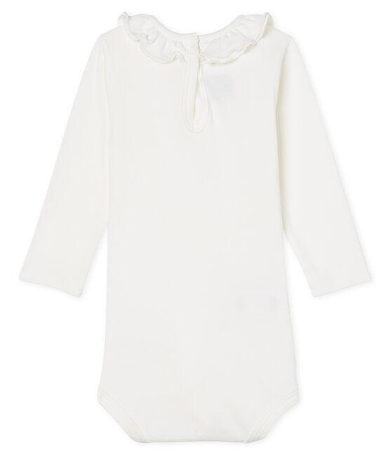 Body manches longues avec collerette bébé fille blanc Marshmallow