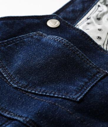 Salopette longue maille effet denim bébé mixte bleu Jean