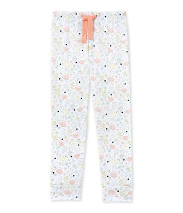 Pantalon de pyjama fille à coordonner blanc Ecume / rose Rose