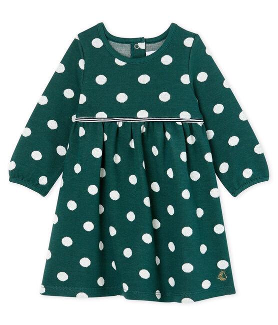 Jurk met lange mouwen en stippen babymeisje groen Sousbois / wit Marshmallow