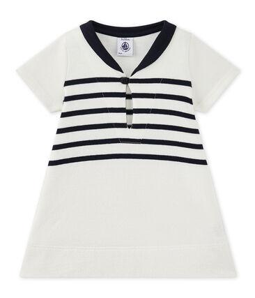 Jurk in zware jersey voor babymeisjes wit Marshmallow / blauw Smoking