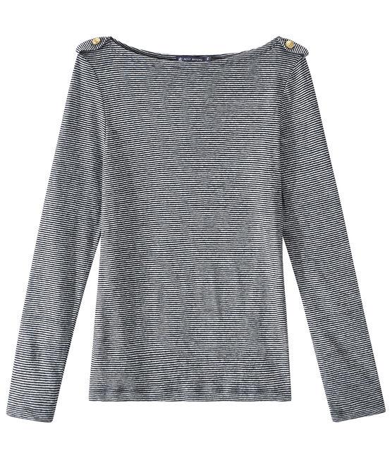 T-shirt femme manches longues en lin rayé bleu Smoking / blanc Lait