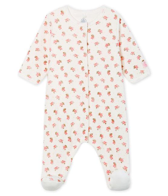 Bodyjama bébé fille en velours blanc Marshmallow / blanc Multico
