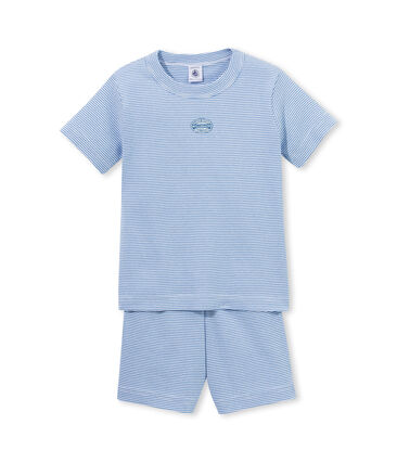 Pyjacourt garçon rayé milleraies bleu Alaska / blanc Ecume