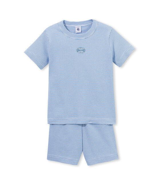 Korte jongenspyjama met milleraies-strepen blauw Alaska / wit Ecume